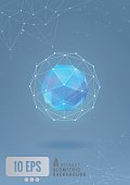Abstract geometric shape with graphic line on blue background