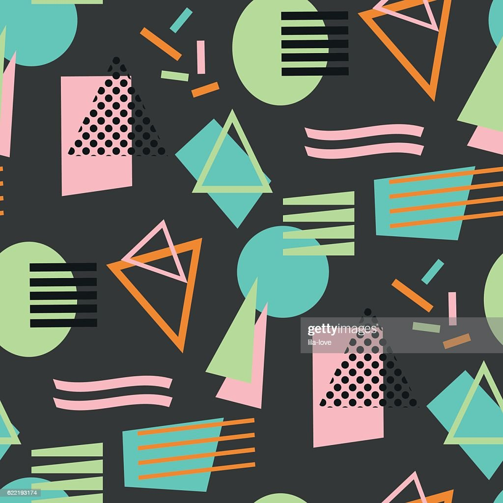 Abstract Geometric Shapes S Eamless Pattern Retro 80s 90s