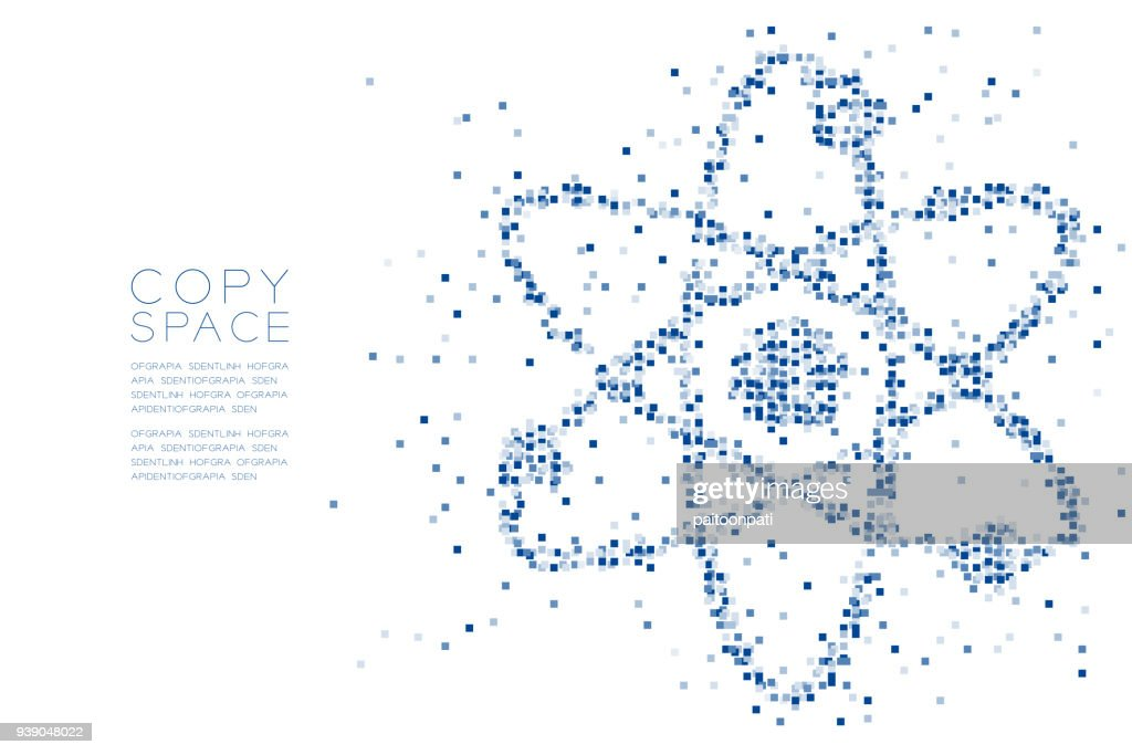 Abstract Geometric square box pattern Atom symbol shape, Science concept design blue color illustration isolated on white background with copy space, vector eps 10