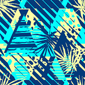 Abstract geometrical seamless rough grunge pattern, palm leaves summer funky seamless print.