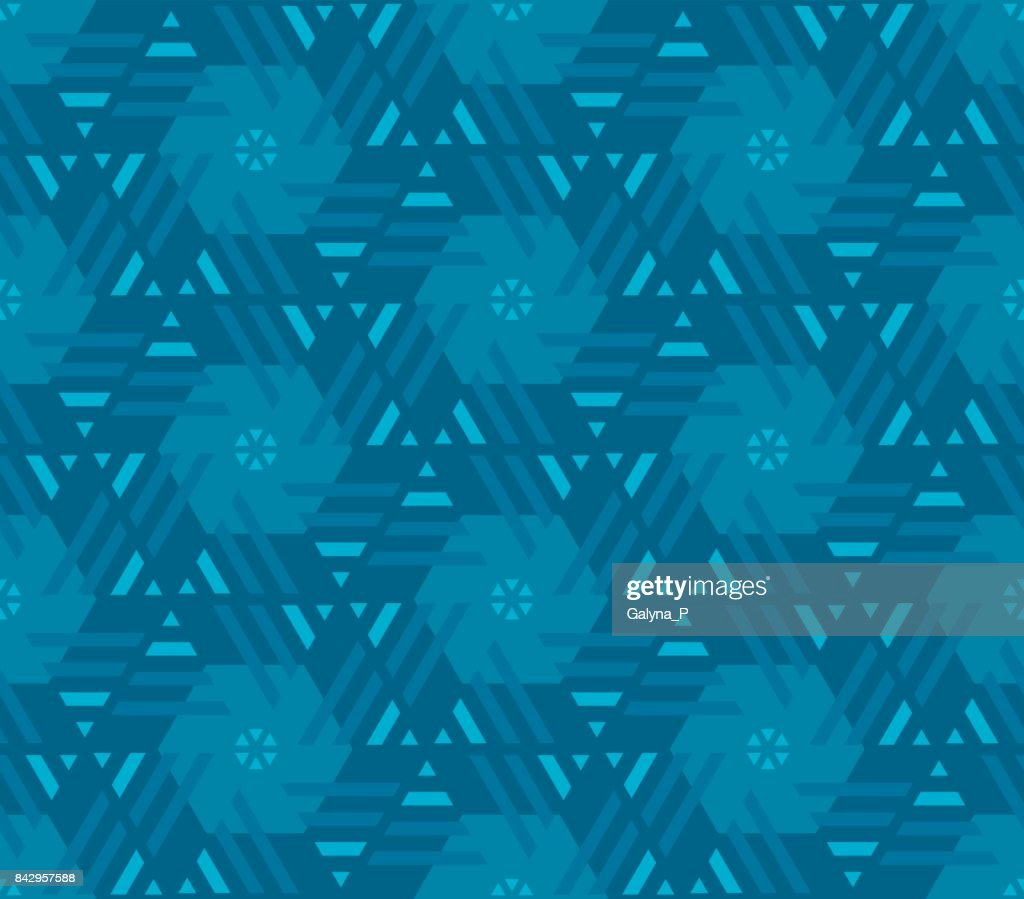 Abstract geometry floral motif. marine blue color abstract concept design. vector seamless pattern for fabric, wrapping paper, print and web surface design