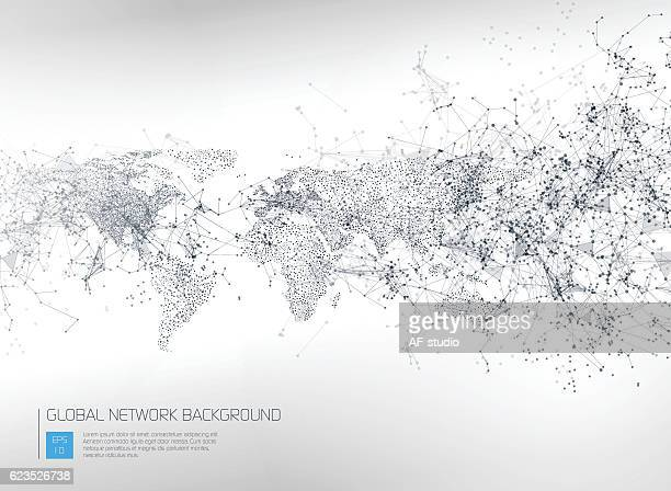 abstract global network background - computer network stock illustrations, clip art, cartoons, & icons