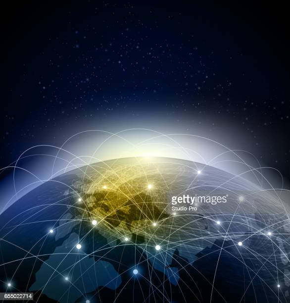 abstract global network background - satellite view stock illustrations