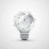 Abstract Global Network Connections Concept Design with Light Bulb