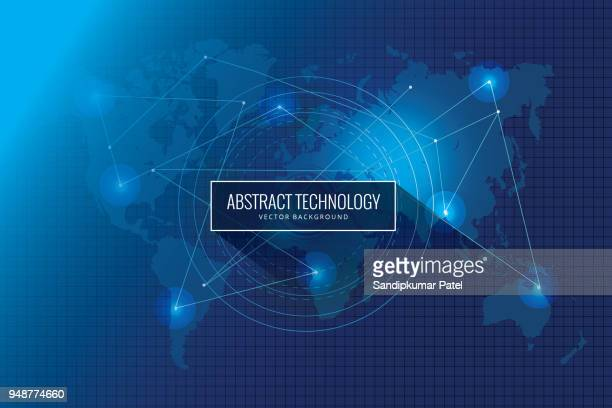 abstract global network technology innovation concept background design - global communications stock illustrations