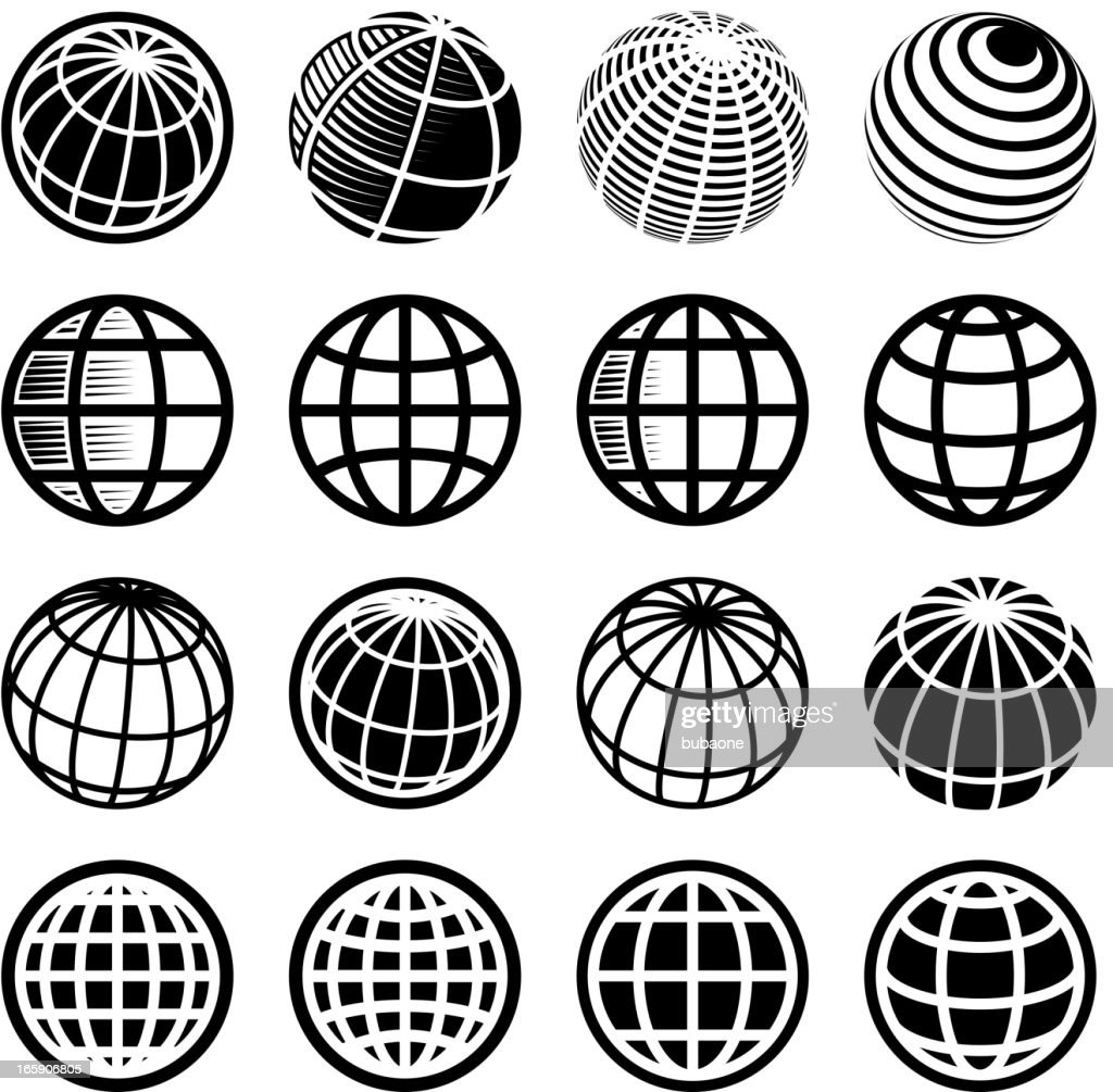 Abstract Globe and global communications royalty free vector icon set