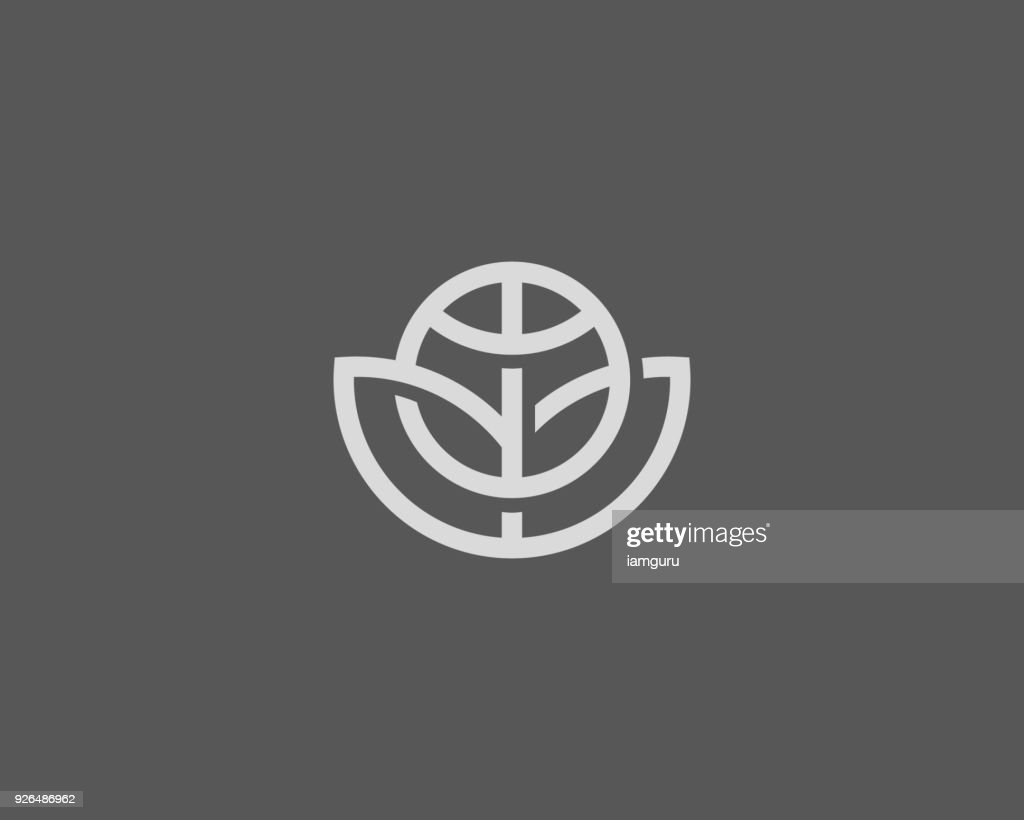 Abstract globe flower vector  design. Global leaf eco logotype. Linear game team ball icon symbol