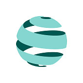abstract globe symbol, isolated vector icon, internet and social network concept