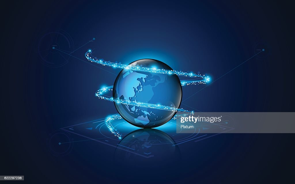 abstract globe with lighting movement technology sci fi design concept