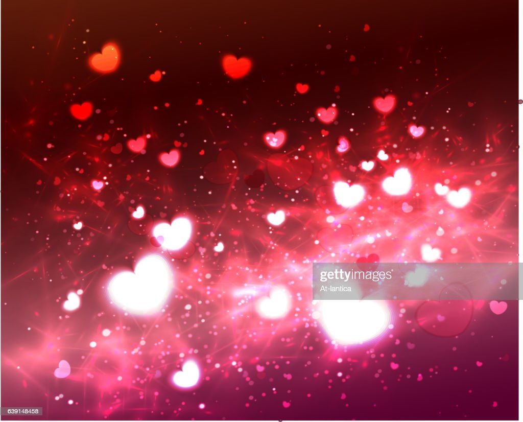 Abstract Glow Soft Hearts for Valentines Day .
