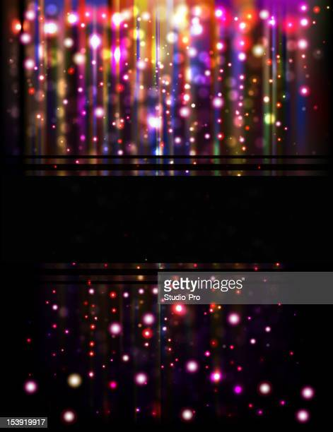 Abstract glowing rain background with skyline