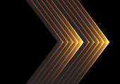Abstract gold arrow light on black design modern luxury futuristic background vector illustration.