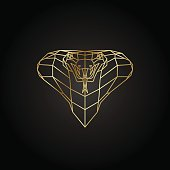 Abstract gold cobra polygon template on a black background. Vector illustration.