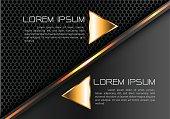 Abstract gold line triangle on gray black circle mesh design modern luxury futiristic creative idea background vector illustration.