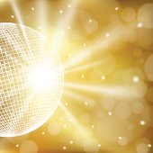 Abstract golden background with disco ball