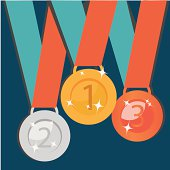 Abstract Golden, Silver, Bronze Medals. Vector Set