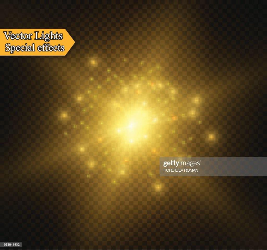 Abstract golden sparkler effect with white sparks modern design. Glow sparkling firework light. Sparkles light vector on transparent background. Christmas Concept