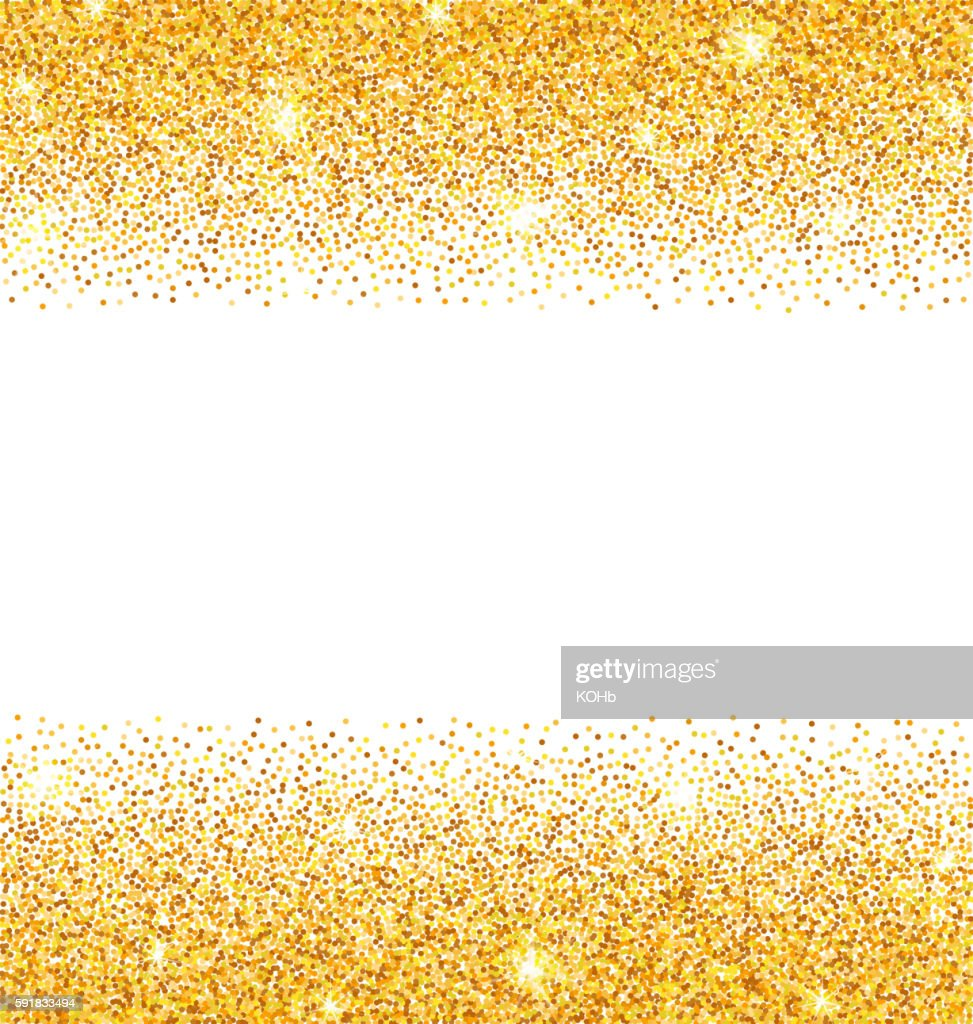 Abstract Golden Sparkles on White Background. Gold Glitter Dust