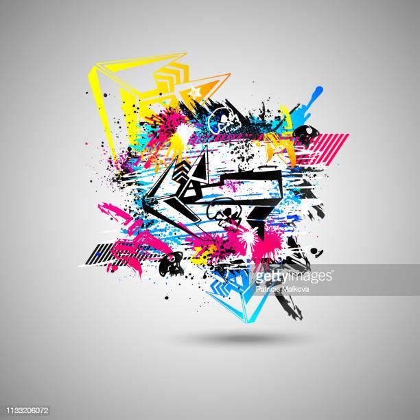 abstrakter graffiti-hintergrund mit gestaltungselementen und schädel, street-art-design mit grunge-textur - graffito stock-grafiken, -clipart, -cartoons und -symbole