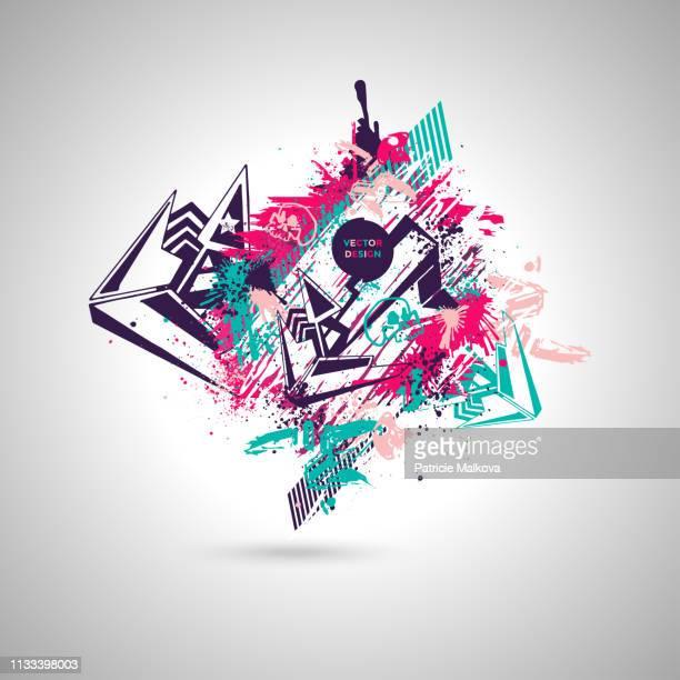 abstrakter graffiti-hintergrund mit gestaltungselementen und schädel, street-art-design mit grunge-textur - streetart stock-grafiken, -clipart, -cartoons und -symbole