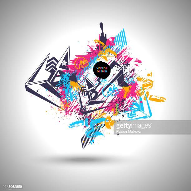 abstract graffiti background with design elements and skulls, street art design with grunge texture - street art stock illustrations