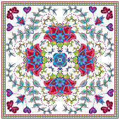 Abstract graphic background, square pattern with Mandala geometric ornament. Bandanna