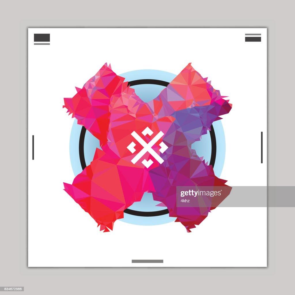 抽象的なグラフィック デザイン ポリゴン クロス ポスター レイアウト