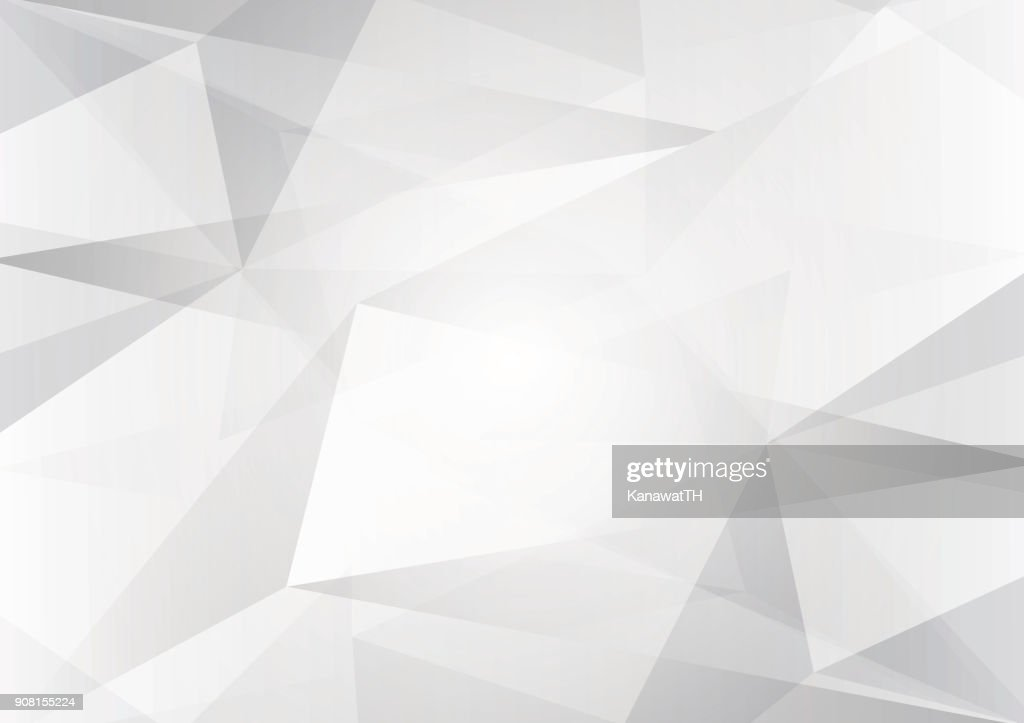 Abstract gray and white color low poly, vector background illustration with copy space