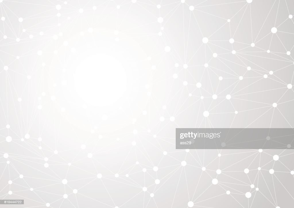 Abstract gray background with chaos of connected lines and dots. Vector illustration