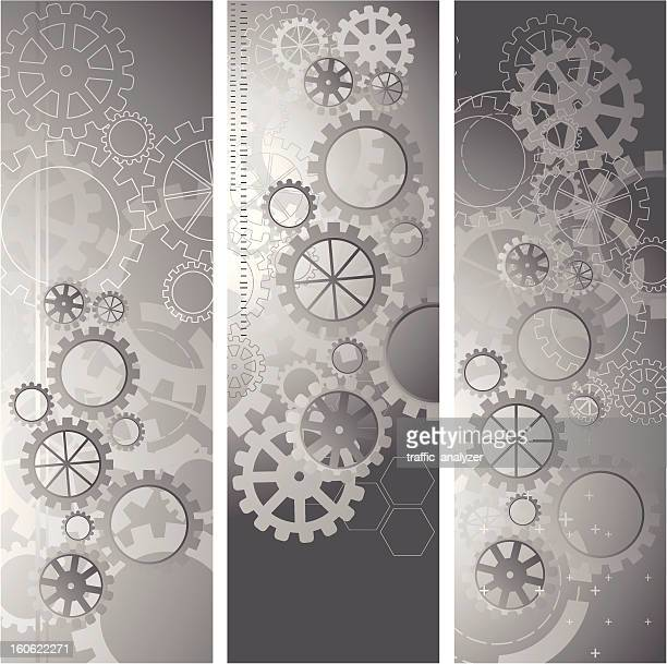 abstract gray banners - gearshift stock illustrations, clip art, cartoons, & icons