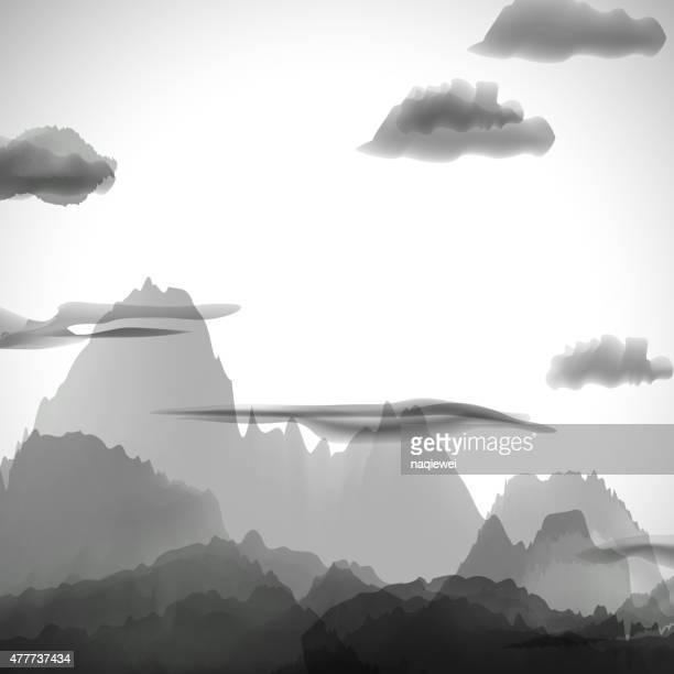 Abstrakt Grau chinesische Malerei Muster Hintergrund