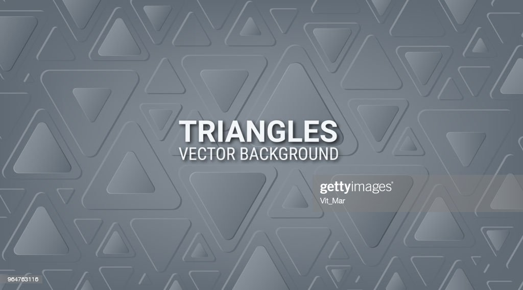 Abstract gray metallic background. Interlacing of geometric figures. Triangles with rounded corners. Soft color tone. Shadow and glow. Template for websites, brochures, posters.