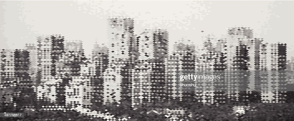 abstract gray mosaic city building pattern background : stock illustration