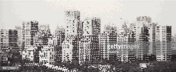 abstract gray mosaic city building pattern background - vintage stock stock illustrations