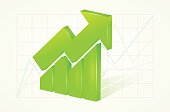 Abstract green 3D chart icons with arrow and shadow
