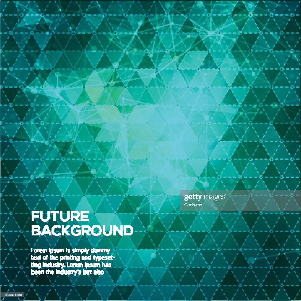 Abstract green background with triangles. Dark background with connecting dots