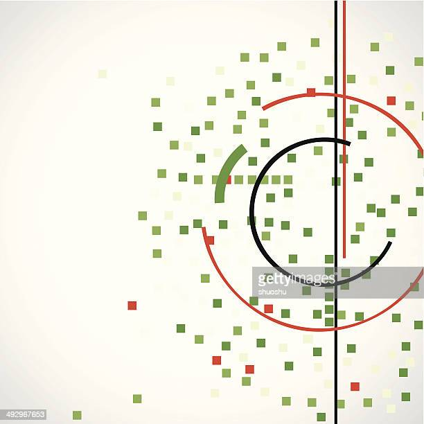 abstract green check with red line pattern technology background - corner marking stock illustrations, clip art, cartoons, & icons
