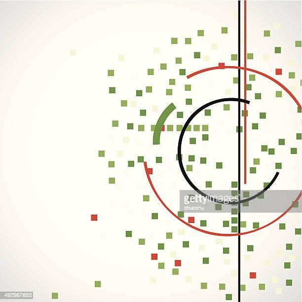Abstrato de verificação verde com linha vermelha padrão de fundo de tecnologia