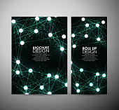 Abstract green hi-tech brochure business design template or roll up.