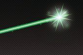 Abstract green laser beam. Magic neon light lines isolated on checkered background. Vector illustration