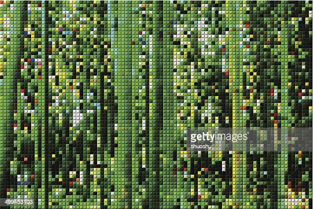 Abstracto verde mosaico patrón de fondo de bosque de bambú