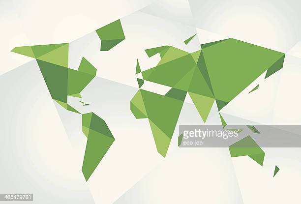 Abstract Green World Map