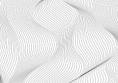 Abstract grey curved waves refraction vector background