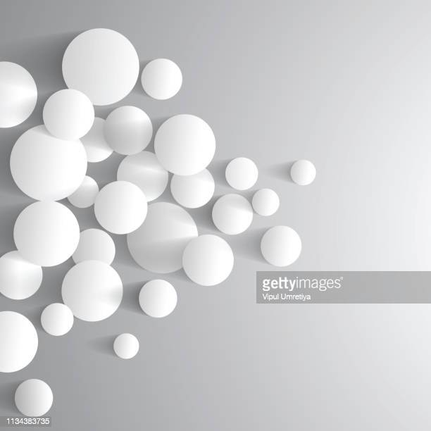 illustrazioni stock, clip art, cartoni animati e icone di tendenza di abstract grey minimal futuristic balls background - particella