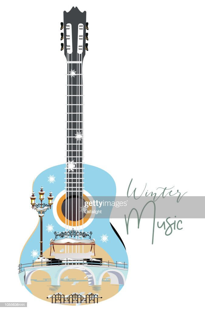 Abstract guitar decorated with snowflakes and notes.