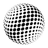 Abstract halftone 3D sphere of circle dots in cross arrangement. Simple modern design vector element in black and white