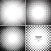 Abstract halftone backgrounds set. Vector illustration