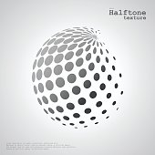 Abstract halftone sphere in grayscale color
