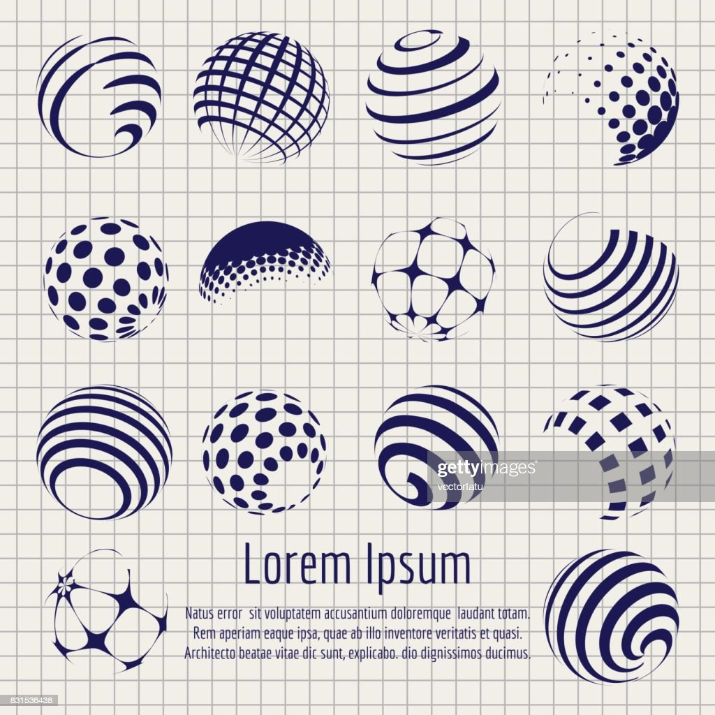 Abstract halftone spheres set sketch