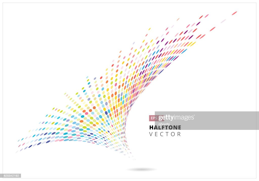 Abstract halftone spiral rainbow dots pattern perspective, storm colorful, isolated on white background, vector